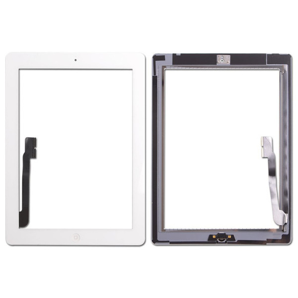Touch Screen Glass Digitizer Home Button Adhesive Assembly for iPad 4 White